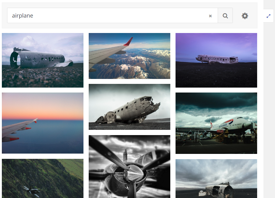 screenshot of search feature